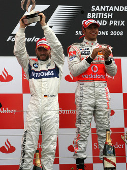 Podium: race winner Lewis Hamilton with second place Nick Heidfeld
