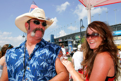 Race Fans visit the Midway Old Spice exhibit