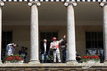Lewis Hamilton, McLaren Mercedes on the Balcony of Goodwood house with Chris Evans TV and radio presenter
