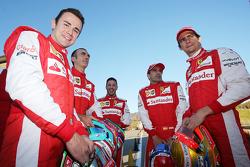 From left to right: Davide Rigon, AF Corse, Andrea Bertolini Ferrari test driver, Antonio Fuoco, Ferrari test driver, Marc Gene, Ferrari test driver, Esteban Gutierrez, Ferrari test driver