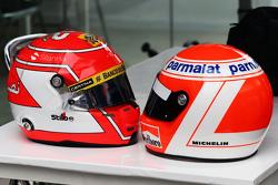 (L to R): The helmets of Felipe Nasr, Sauber F1 Team and Niki Lauda, Mercedes Non-Executive Chairman
