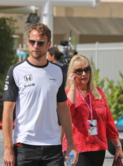 Jenson Button, McLaren with his mother Simone