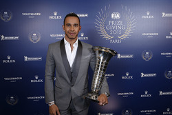 Lewis Hamilton, Mercedes AMG F1 with his world champion trophy