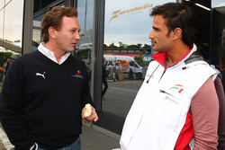 Christian Horner, Red Bull Racing, Sporting Director and Vitantonio Liuzzi, Test Driver, Force India F1 Team