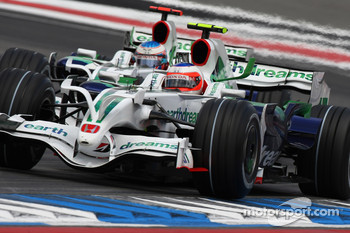 Rubens Barrichello, Honda Racing F1 Team, RA108 leads Jenson Button, Honda Racing F1 Team, RA108