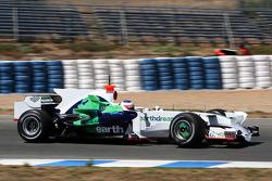 Rubens Barrichello, Honda Racing F1 Team, RA108, with a new shark fin engine cover