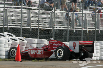 Scott Dixon in the tire wall
