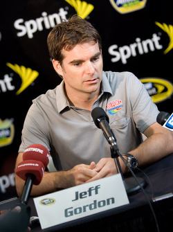 Jeff Gordon answers questions for the media