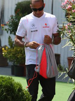 Lewis Hamilton, McLaren Mercedes, arrives