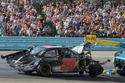 The wrecked car of David Gilliland
