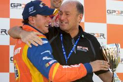 Podium: race winner Andrew Ranger celebrates