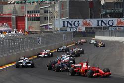Kimi Raikkonen, Scuderia Ferrari, F2008 and Sebastian Vettel, Scuderia Toro Rosso, STR03