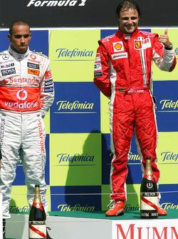 Podium: race winner Felipe Massa and second place Lewis Hamilton