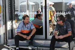 Jimmy Vasser talks with a crew member