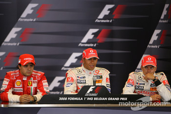 Post-qualifying press conference: pole winner Lewis Hamilton, second place Felipe Massa, third place Heikki Kovalainen