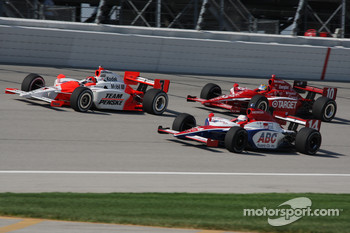 Helio Castroneves, Darren Manning and Dan Wheldon