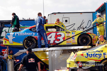 The #43 crew load up the car following the race