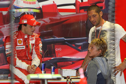 Felipe Massa, Scuderia Ferrari with Marco Materazzi, Italian Football player for Inter Milan, and his son