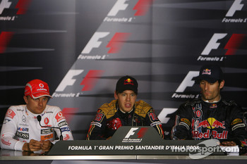 Press conference: pole winner Sebastian Vettel, second place Heikki Kovalainen, third place Mark Webber