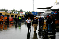 Rain falls on the New Hampshire Motor Speedway before Cup qualifying