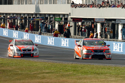 Jamie Whincup leads Garth Tander with a handful of laps