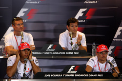 FIA Thursday press conference: David Coulthard, Red Bull Racing, Mark Webber, Red Bull Racing, Lewis Hamilton, McLaren Mercedes and Heikki Kovalainen, McLaren Mercedes
