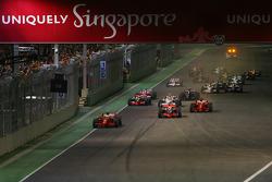 Start, 1st, Felipe Massa, Scuderia Ferrari, F2008 leads Lewis Hamilton, McLaren Mercedes, MP4-23