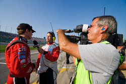 Carl Edwards gets interviewed after finishing second
