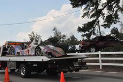#48 Corsa Motorsports Zytek 07S: Johnny Mowlem, Gunnar Jeanette, Stefan Johannson remains after it's crash