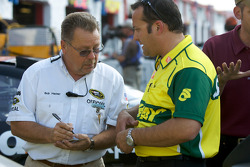 Greg Zipadelli discusses with a NASCAR Sprint Cup Series official