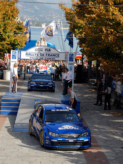 Podium: Petter Solberg and Phil Mills, Subaru World Rally Team, Subaru Impreza WRC