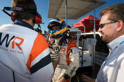 Pole winner Jonathan Summerton celebrates with Newman Wachs Racing team members