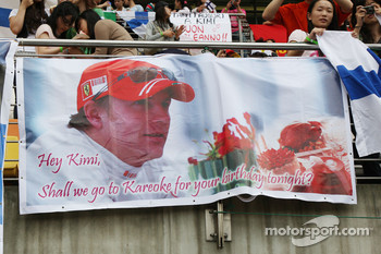 Banners for Kimi Raikkonen, Scuderia Ferrari, birthday messages