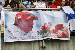 Banners for Kimi Raikkonen, Scuderia Ferrari, birthday messages