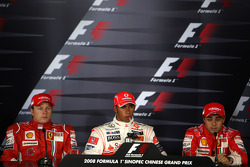FIA press conference: pole winner Lewis Hamilton, second place Kimi Raikkonen, third place Felipe Massa