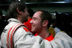 McLaren Mercedes mechanics celebrates