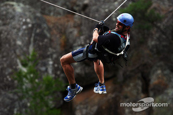 Launceston, Australia: Daniel MacPherson of Team Pure Tasmania takes the cliff jump
