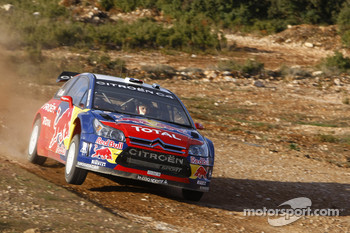 Sébastien Loeb and Stéphane Sarrazin in the Citroen Total WRT Citroen C4 WRC