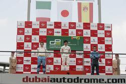 Podium: race winner Kamui Kobayashi, second place Davide Valsecchi, third place Roldan Rodriguez