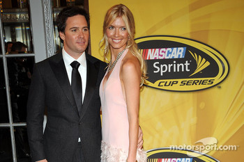2008 NASCAR Sprint Cup Series Champion Jimmie Johnson with his wife Chandra enter the Waldorf=Astoria for Friday's NASCAR Sprint Cup Series Awards Ceremony