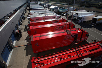 Trucks in the paddock
