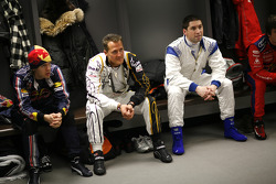 Sebastian Vettel, Michael Schumacher and Gareth McHale in the drivers' briefing