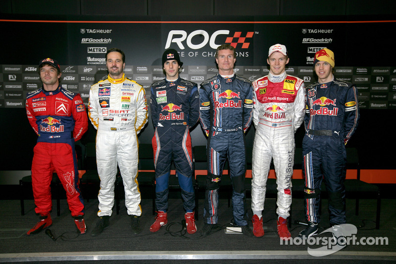 Red Bull drivers Sébastien Loeb, Yvan Muller, Jaime Alguersuari, David Coulthard, Mattias Ekström and Sebastian Vettel pose for a photo