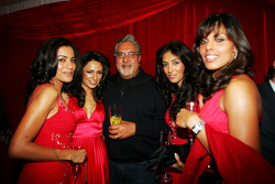 Dr Vijay Mallya Force India F1 Team Owner with the Fly Kingfisher Girls at the Fly Kingfisher Boat Party