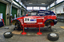 X-raid team: the #316 BMW X3 CC of Leonid Novitskiy and Oleg Tuypenkin in the garage