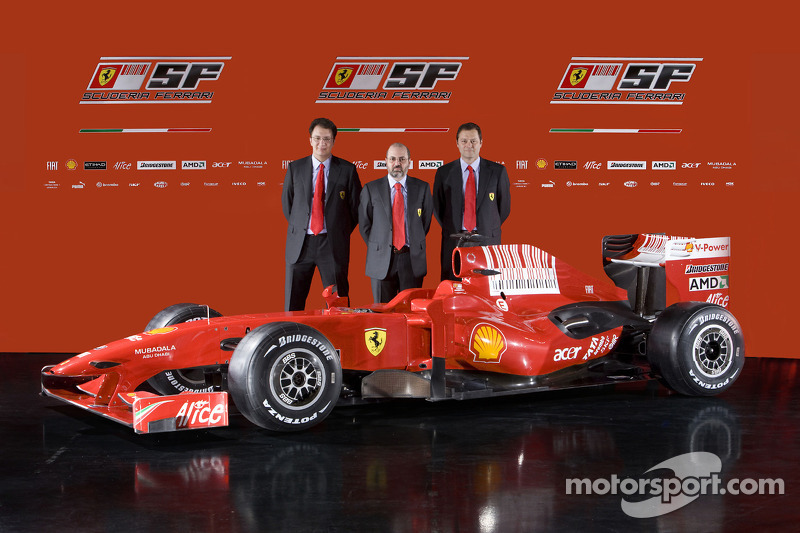 Chief designer Nicholas Tombazis, head of engine department Gilles Simon, chief designer Aldo Costa and the new Ferrari F60
