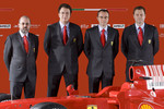Head of engine department Gilles Simon, chief designer Nicholas Tombazis, team director Stefano Domenicali and chief designer Aldo Costa with the new Ferrari F60