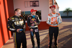 Raybestos Rookie of the Year radio-controlled car race event: Ryan Newman, Stewart-Haas Racing Chevrolet, Scott Speed, Red Bull Racing Team Toyota, and Joey Logano, Joe Gibbs Racing Toyota