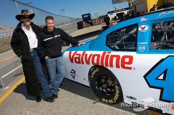 Richard Petty and A.J. Allmendinger unveil a special paint scheme on the Richard Petty Motorsports Valvoline Dodge