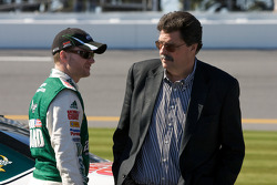 Dale Earnhardt Jr., Hendrick Motorsports Chevrolet, talks with NASCAR President Mike Helton